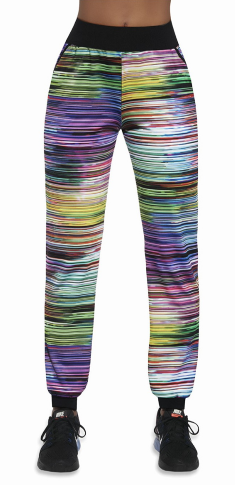 BasBlack Tropical - 90's style multicoloured stripe print stretch jogger style tracksuit bottoms