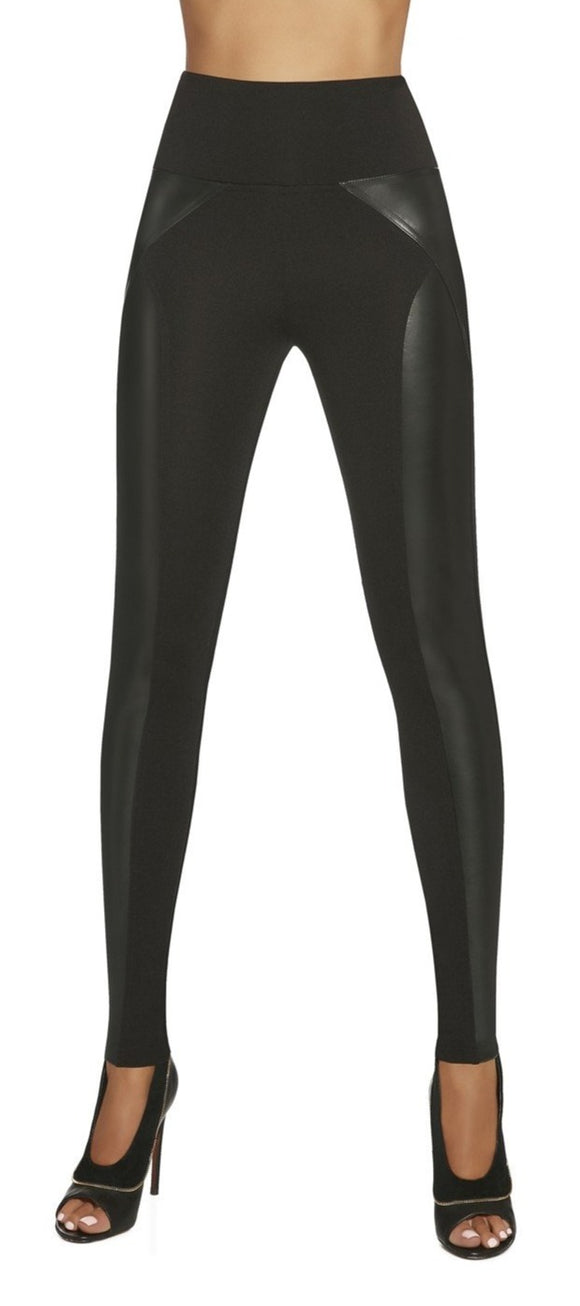 BasBleu Ally Leggings - high waisted control top faux leather panelled leggings
