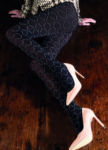 Trasparenze Basilisco Collant - opaque fashion tights with white diamond pattern, available in black and dark bottle green