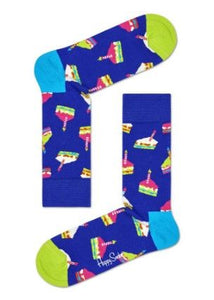 Happy Socks BCS01-6300 Birthday Cake Sock - blue unisex socks with cake and candles pattern in pink, green and light blue