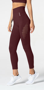 Carpatree Phase Seamless Leggings - Burgundy high waisted seamless leggings made of thick stretch fabric with ventilating mesh side panels.
