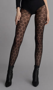 Fiore Carrie Tights - Semi opaque black fashion tights with a gothic style all over pattern, similar similar to the logo tights of Fendi, Gucci and Louis Vuittons.