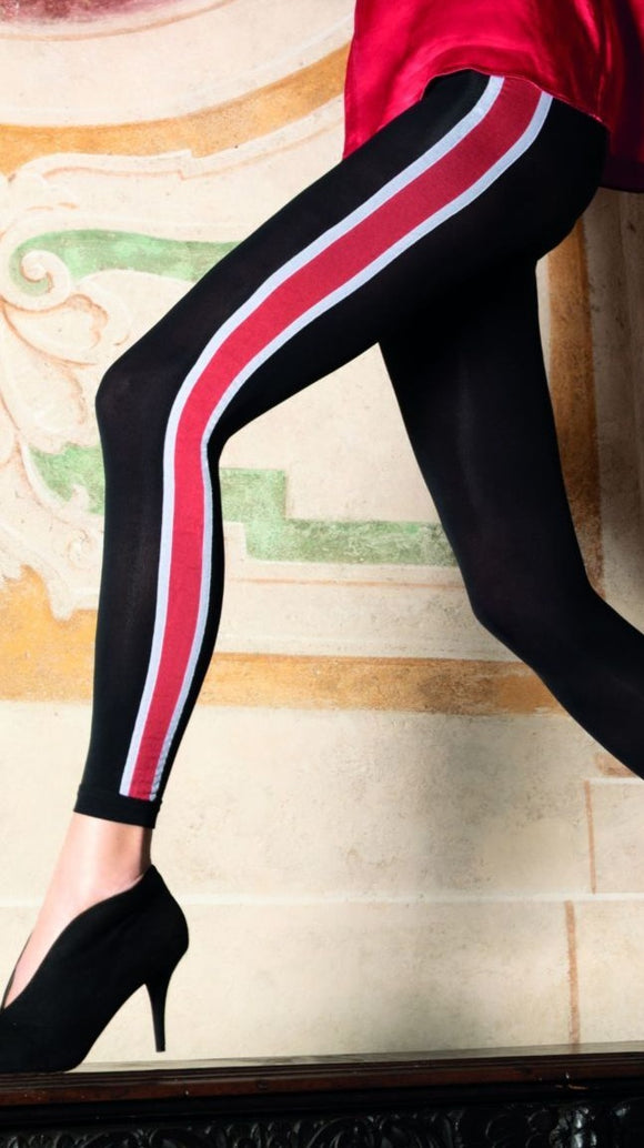 Trasparenze Centauro Pantacollant - black opaque fashion footless tights with a sports style side stripe in red and white