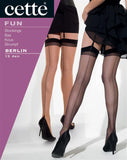 Cette Berlin - sheer nude stockings with black back seam and top