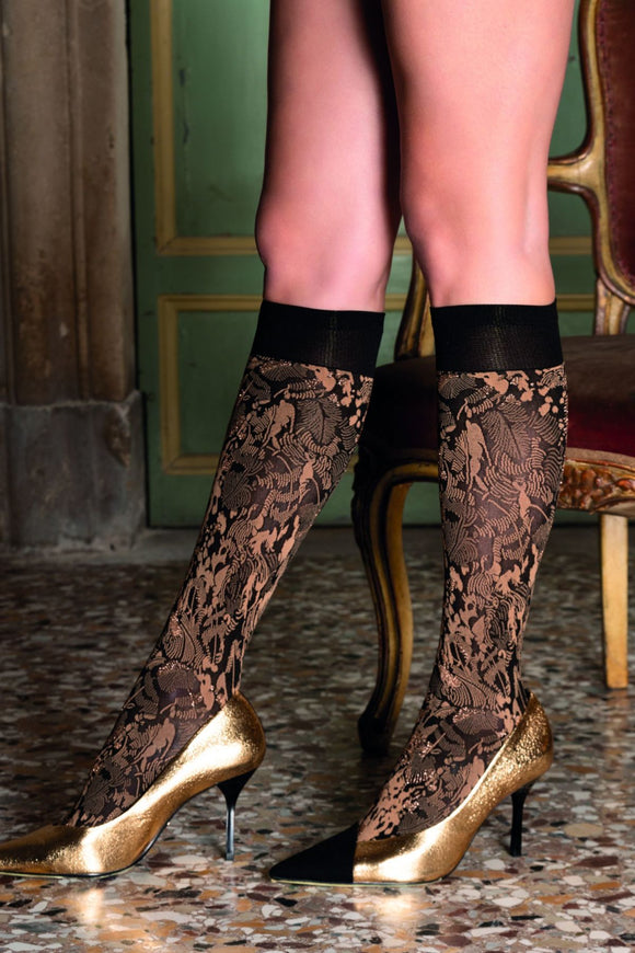 Trasparenze Chimera Gambaletto - Soft matte opaque fashion knee-high socks with a woven leaf style pattern in black, camel beige and sparkly bronze lamé and deep black comfort cuff.