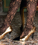 Trasparenze Chimera Collant - Soft black matte opaque fashion tights with a woven leaf style pattern in either beige/camel or white and sparkly lamé metallic bronze