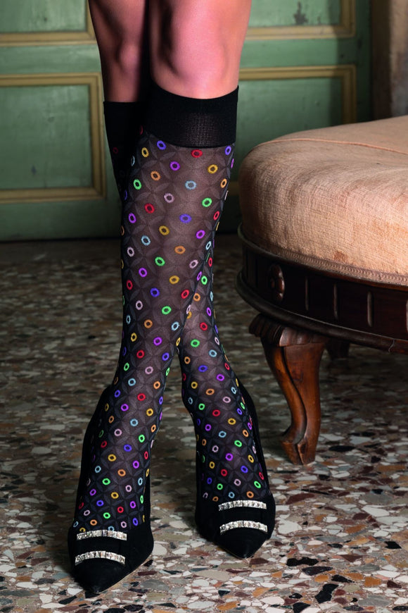 Trasparenze Ciclope Gambaletto - Soft black opaque fashion knee-high socks with a woven multicoloured circular polka dot pattern, subtle diamond pattern and deep comfort cuff.
