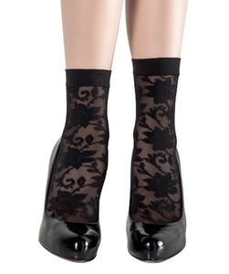 Emilio Cavallini 5C46.5.8 Charming Socks - black floral lace fashion ankle socks