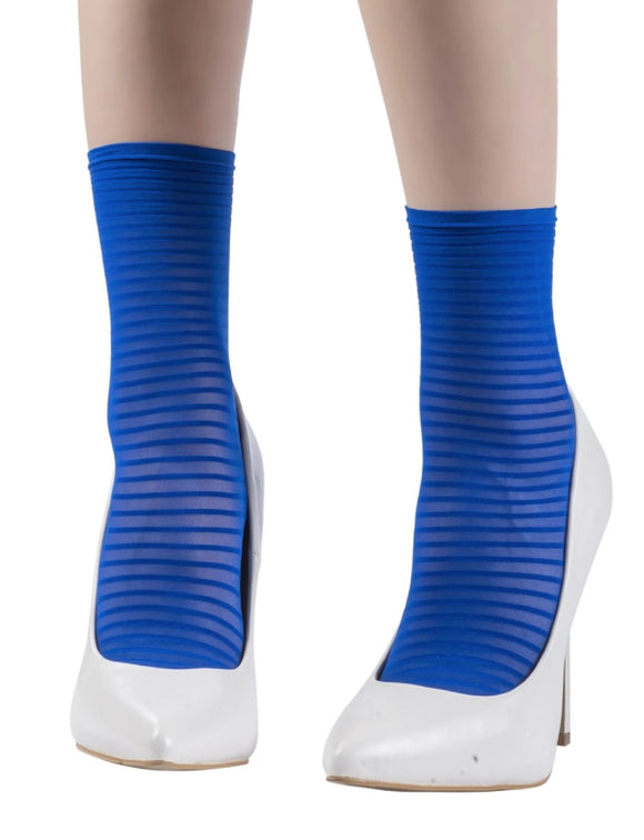 Emilio Cavallini 5D04.5.8 Thin Striped Ankle Socks - sheer blue fashion ankle socks with horizontal stripes