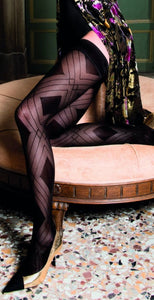 Trasparenze Fata Autoreggente - black micro mesh fashion hold-ups with a geometric diamond style pattern, plain top with silicone