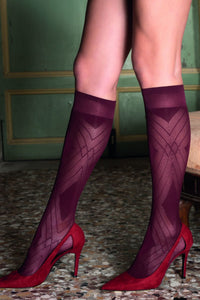 Trasparenze Fata Gambaletto - wine micro mesh fashion knee-high socks with a geometric diamond style pattern and deep cuff.