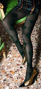 Trasparenze Fata Collant - dark bottle green micro mesh fashion tights with a geometric diamond style pattern, flat seams, hygienic gusset and deep comfort waist band.