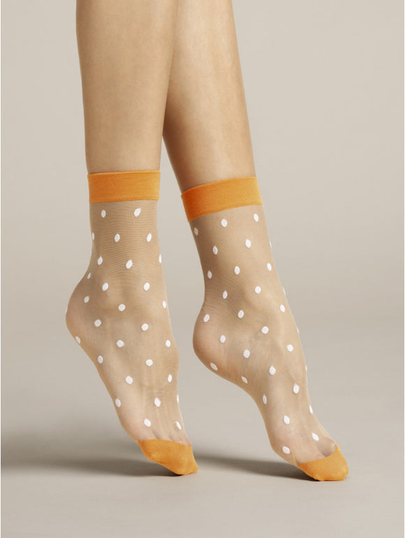 Fiore Papavero Sock - Sheer nude fashion ankle socks with woven white spot pattern and orange cuff and toe.