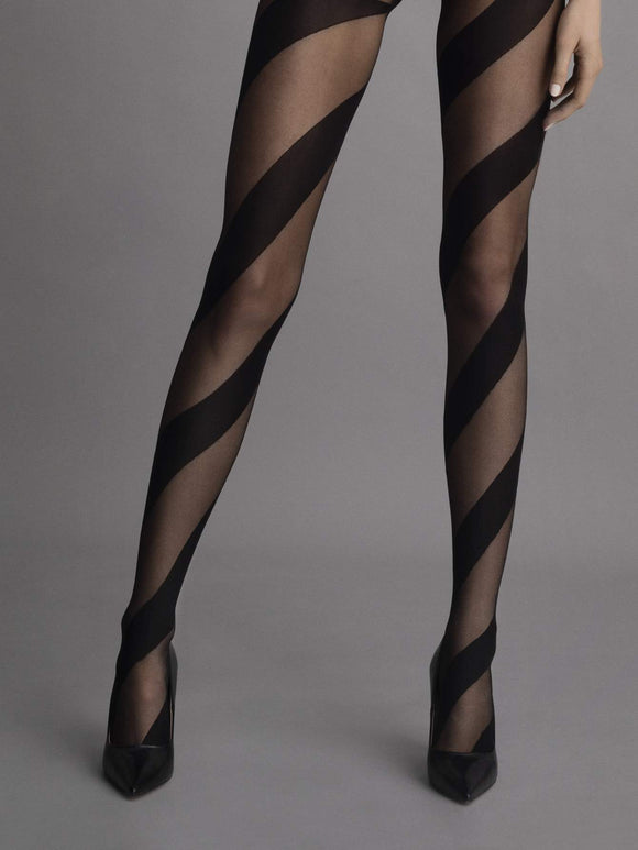 Fiore G 5936 Candy Stripe Tights - Sheer black fashion tights with a woven diagonal spiral swirl linear pattern.