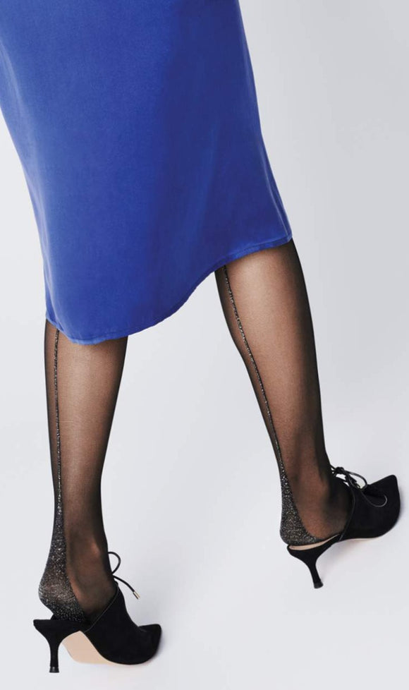 Fiore Est Tights - Sheer black fashion tights with a sparkly metallic silver back seam and point heel.