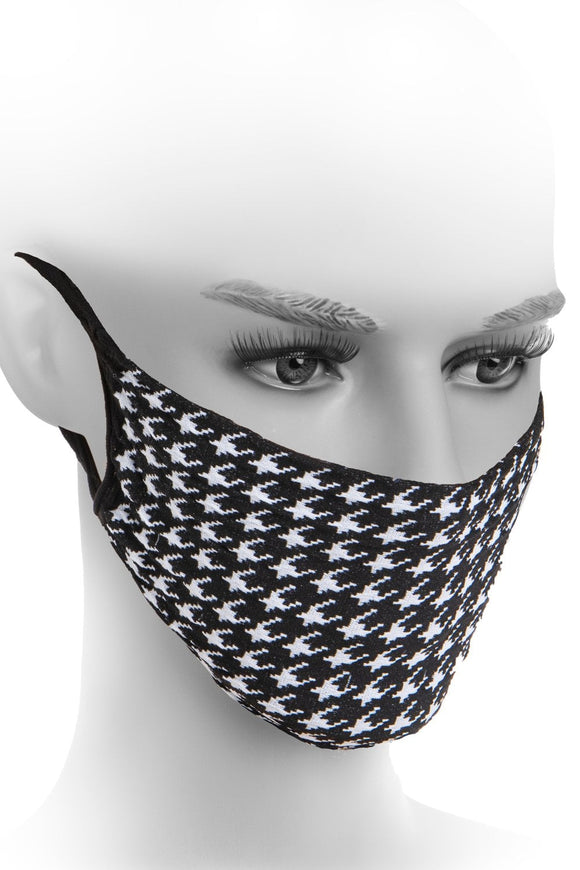 Fiore Black and White Houndstooth Hygiene Face Mask