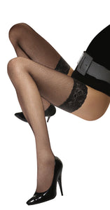 Omsa Malizia Rete Autoreggente - classic fishnet hold ups with lace top and silicone