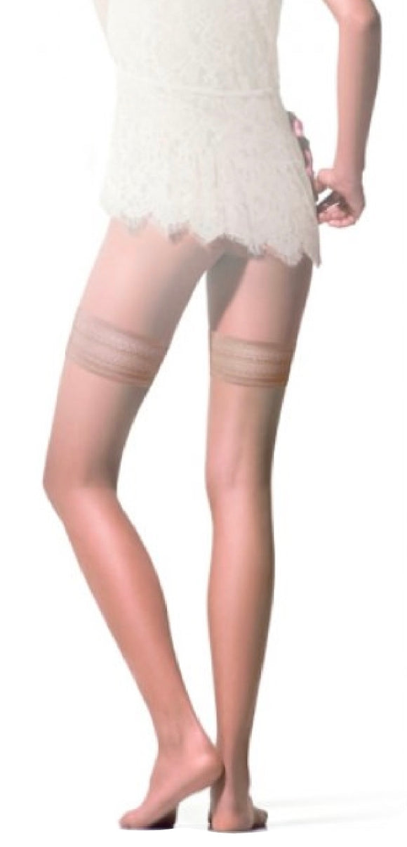 Omsa Sunlight Autoreggente - ultra transparent 8 denier hold ups / stay ups with plain top (with silicone), available in nude, tan and black