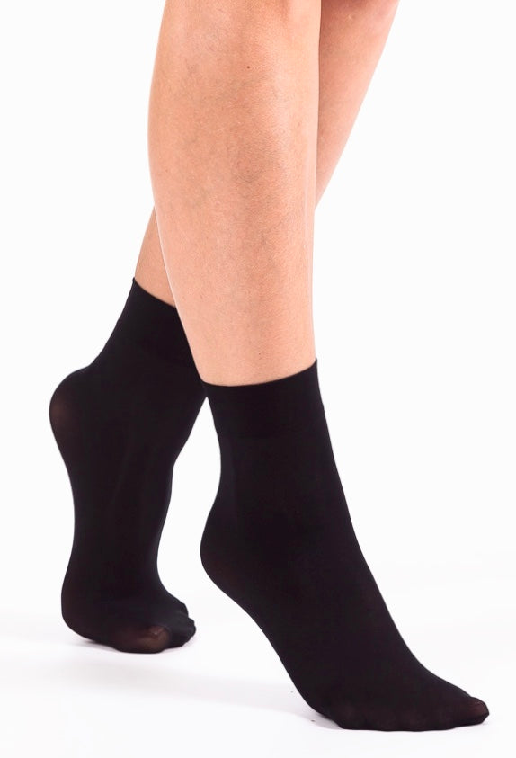 Omsa Micro 50 Calzino - plain black opaque ankle socks