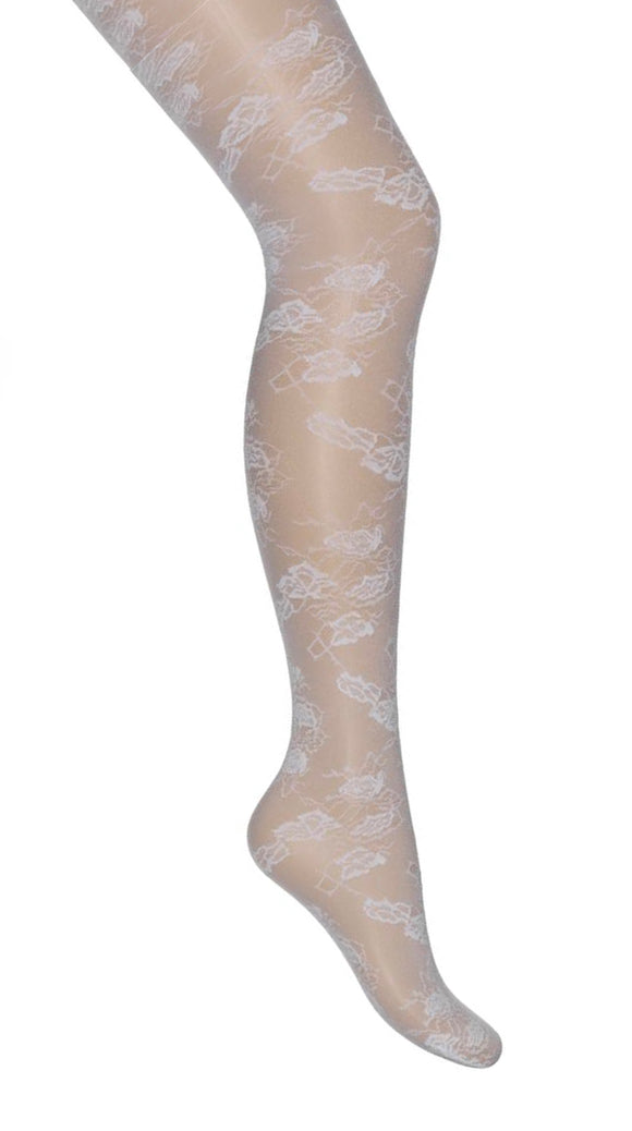 Bonnie Doon - Floral Lace Tights BN141958 - white flower lace tights, perfect bridal hosiery