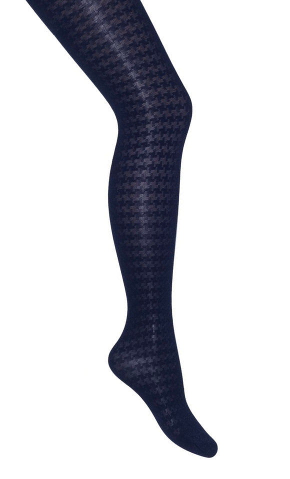 Bonnie Doon Houndstooth Tights BN851960 - navy opaque dogtooth patterned tights