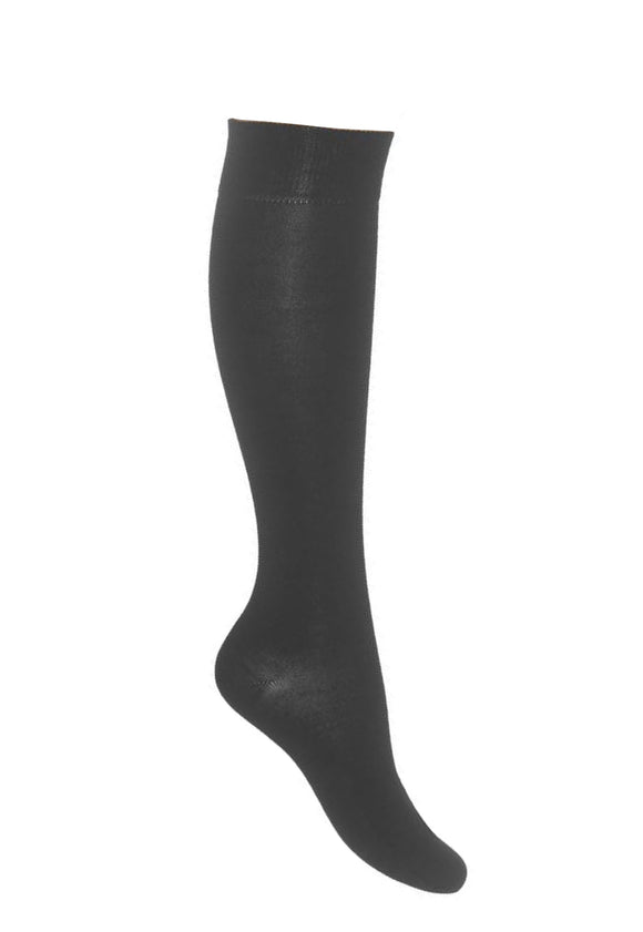 Bonnie Doon Wool/Cotton Knee-High R715011 - black thermal knee socks perfect for cold Winters
