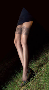 Omsa 3311 Alluring Collant - sheer mock hold-up effect fashion tights with faux lace style pattern and subtle enclosed diamond fishnet pattern