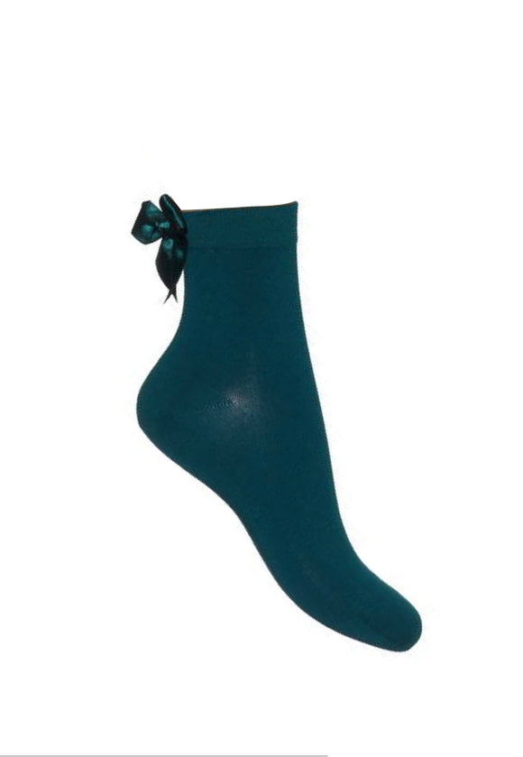 Bonnie Doon bn84.11.07 Bow Quarter Sock - teal green cotton ankle socks with satin bow