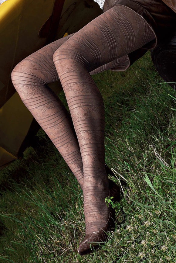 Omsa Elegantly Collant - fashion tights with floral lace and stripe pattern, available in black, navy blue and taupe.