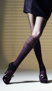 Omsa 3232 Shout Collant - mock knee-high sock fashion tights with circular pattern, available in black, purple and grey