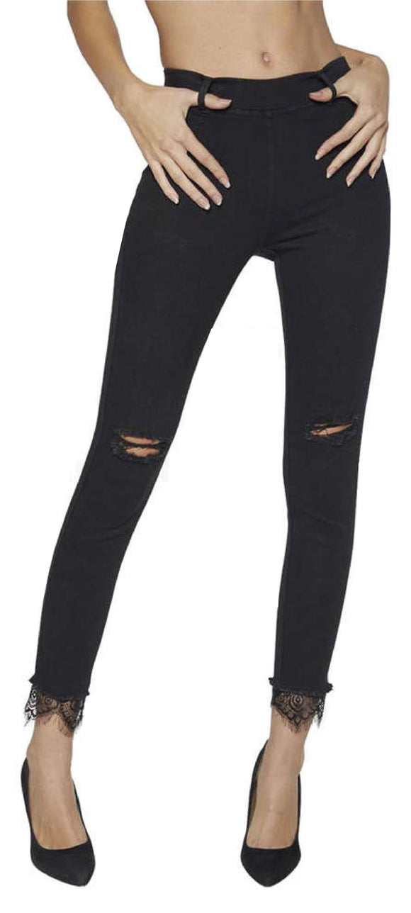 Ysabel Mora 70249 Lace Cuff Jeggings - black denim jean leggings with ripped knees