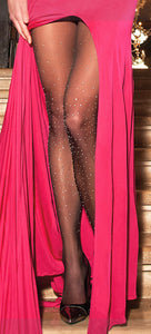 Trasparenze Nausicaa Collant - Sheer black tights embellished with a cascade of crystalline stones applied individually over the entire leg. It is certainly an article that does not go unnoticed, gives unique class and elegance.