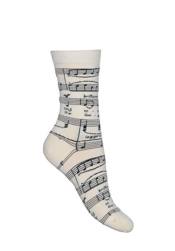 Bonnie Doon Brillante Sock - Off white cotton mix ankle socks with a woven black music notes pattern.