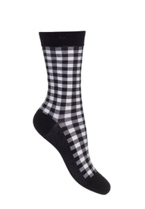 Bonnie Doon Gingham Sock - black and white cotton check ankle socks