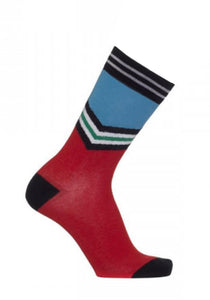 Bonnie Doon BN95.21.29 V-Stripe Sock - Red cotton mix ankle socks with light blue top and v stripe in black, white and green, black cuff, toe and heel.