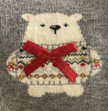 Light grey cotton mix Christmas ankle socks with a cute polar bear wearing a red satin bow and sparkly lurex fairisle style patterned sweater.