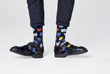 Happy Socks FCA01-6300 Funny Cat Sock - men's black cotton ankle socks with multicoloured cartoon cat faces in shades of blue, orange, yellow and turquoise