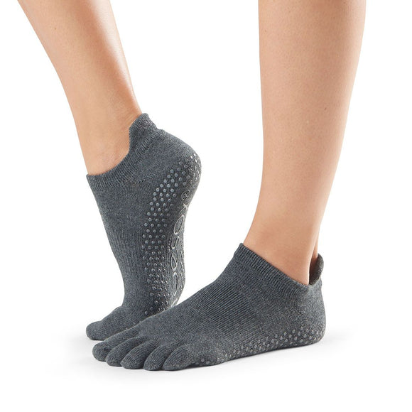 ToeSox Low Rise Full toe - dark grey toe socks with gripper sole, perfect for pilates and yoga