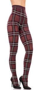 Trasparenze Gutturnio Collant - wine opaque fashion tights with a white woven tartan pattern