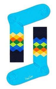 Happy Socks FAD01-6700 Faded Diamond Sock - men's cotton socks with multicoloured diamond pattern