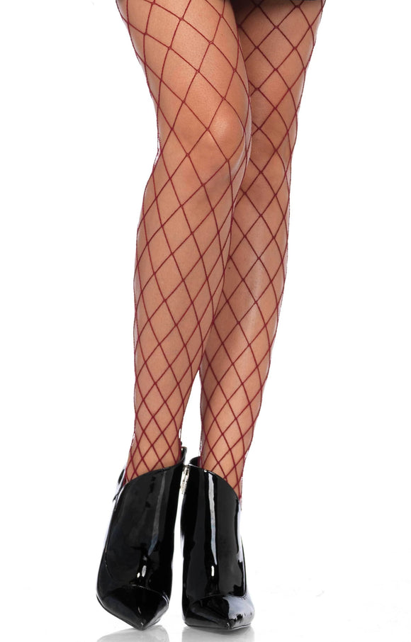 Leg Avenue 9005 burgundy wide diamond fishnet tights