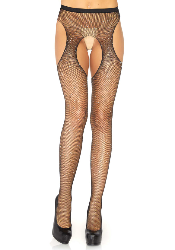 Leg Avenue Crystalized Rhinestone Fishnet Suspender Tights - black micro fishnet crotchless tights with diamante gem stones dotted all over, perfect for the sparkly party season