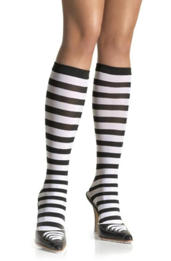 Leg Avenue 5577 Stripe Knee Highs - black and white horizontal stripe knee-high socks