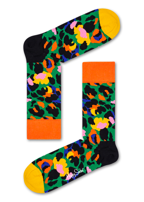 Happy Socks NLE01-7300 Leopard Sock - multicoloured animal print socks in green, orange, black yellow, blue and pink