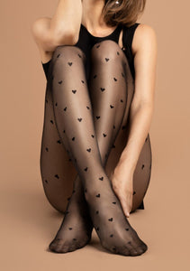 Fiore Love Potion Tights - sheer black fashion tights with heart pattern