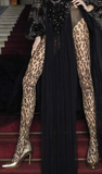 Trasparenze Malvasia Collant - Sheer nude fashion tights with a black woven black leopard print pattern, opaque panty top