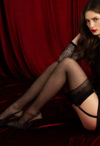 Fiore O 4057 Marion Stockings - Sheer black fashion stockings with a small woven spot pattern, plain deep top with a scalloped design detail. To be worn with a suspender/garter belt.