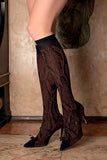 Trasparenze Marsala Gambaletto - brown opaque fashion knee-high sock with a black woven snake print pattern and black deep comfort cuff.