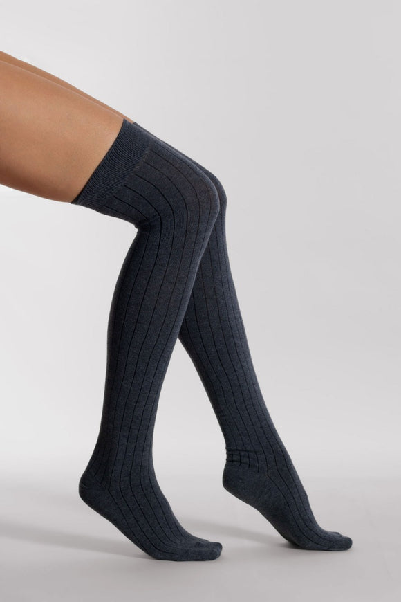 Silvia Grandi - Maxi Rib Cotton Over The Knee - plain cotton ribbed over the knee socks in black, grey, navy and brown