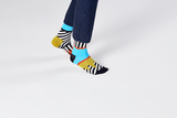 Happy Socks MIX01-0100 Mix And Match Sock - men's cotton odd socks with black and white stripes, light blue, orange and metallic gold